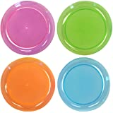 Party Essentials Hard Plastic 6-Inch Round Party/Dessert Plates, Assorted Neon, 80-Count
