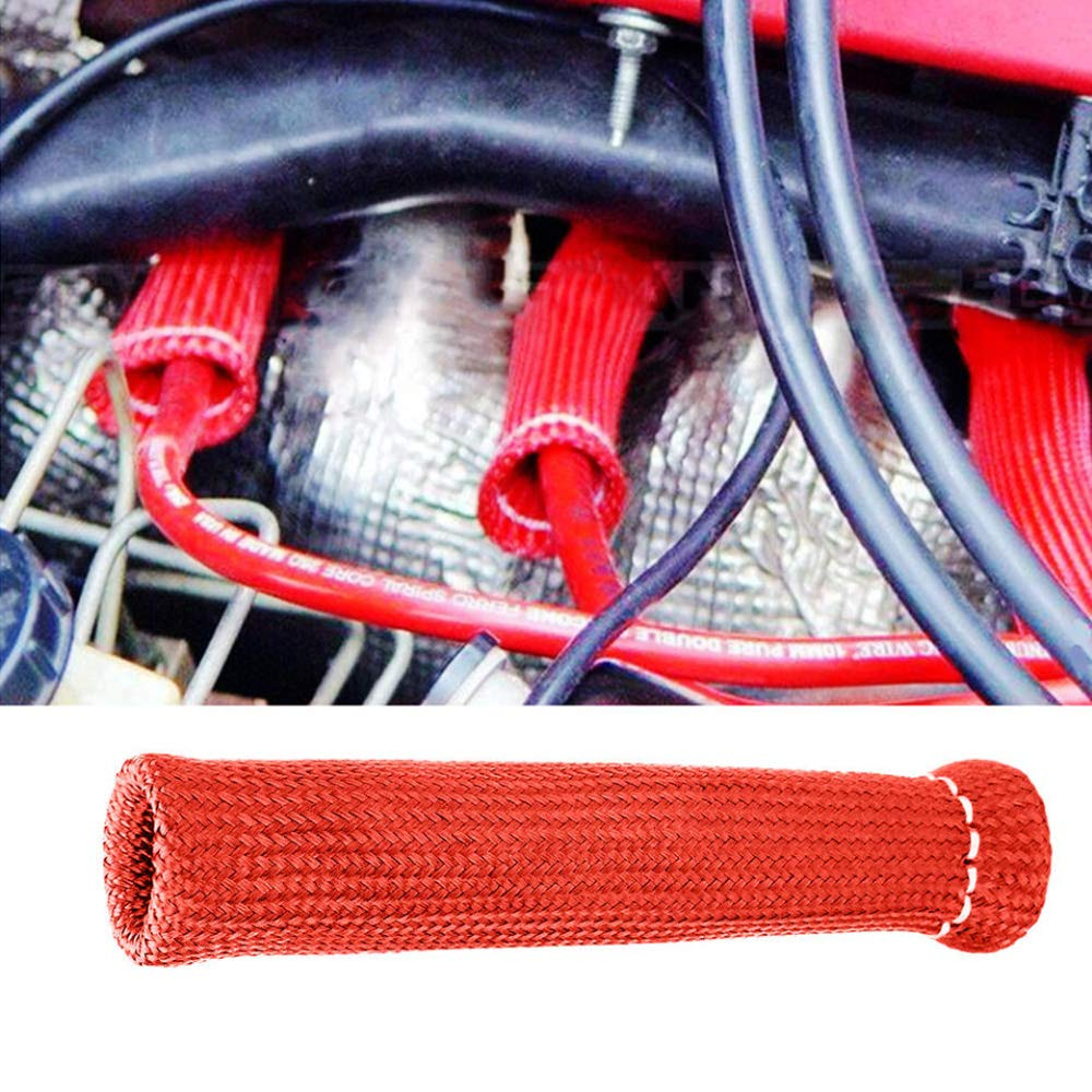 HOUTBY 8 PCS 1800 Degree Car Spark Plug Wire Boots Heat Shield Protector Sleeve Cover SBC BBC Automotive Titanium