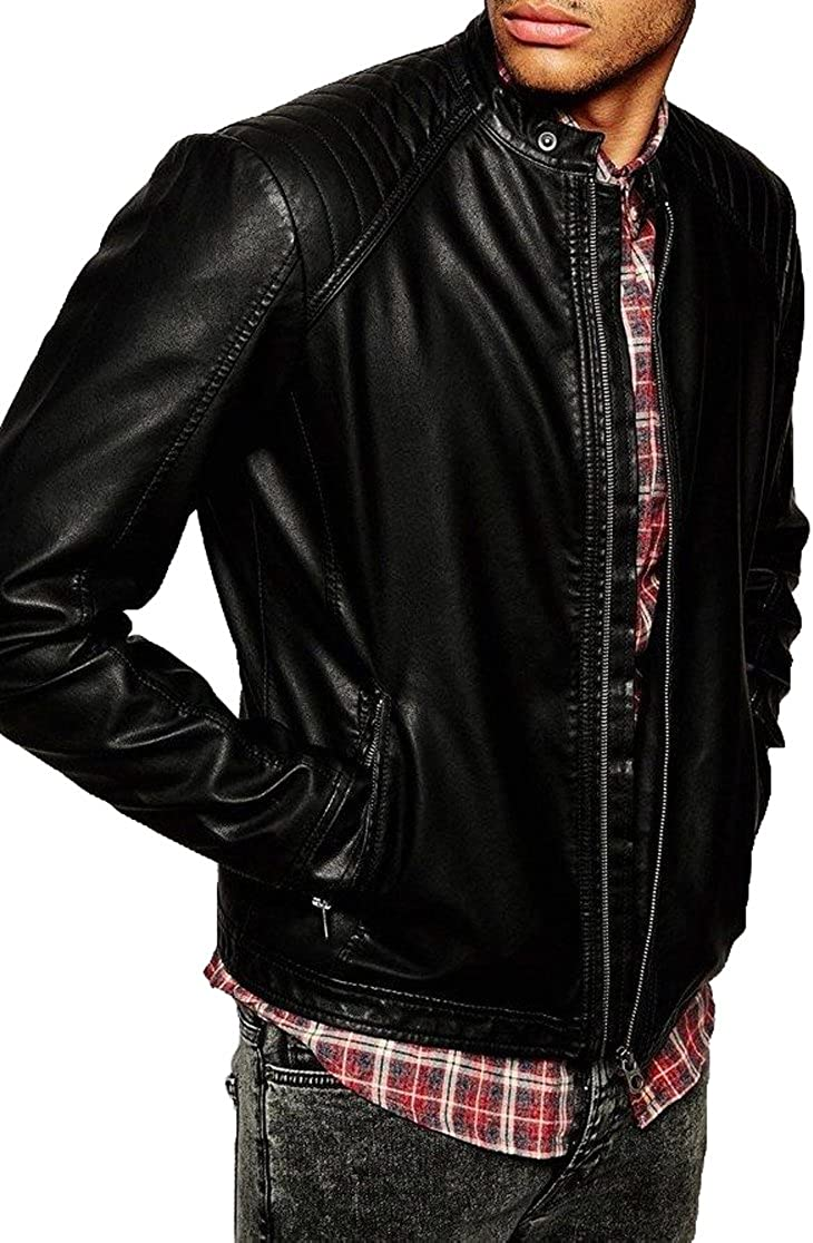Kingdom Leather New Genuine Cow Leather Designer Jacket Motorcycle Biker Mens S M L XL XC971