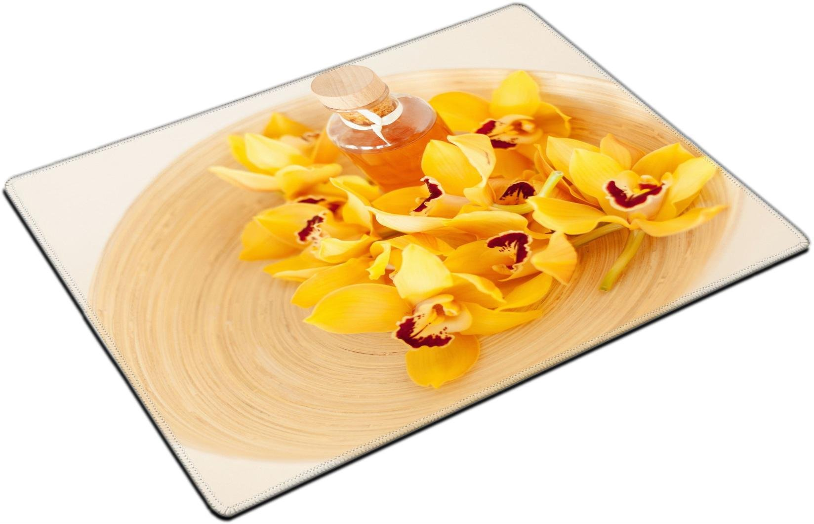 MSD Place Mat Non-Slip Natural Rubber Desk Pads design 25459253 llector spa health and beauty concept closeup of wooden bowl with orchid flowers and