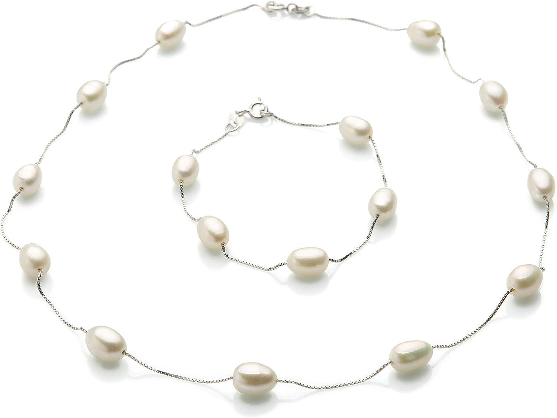 Gargantilla y Pulsera con Perlas Naturales Auténticas y Plata de Ley 925 para Mujer Juego de Joyas con Perlas Cultivadas 8mm