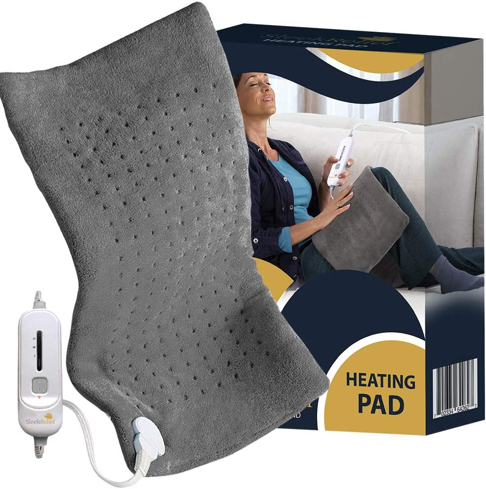 Sleek Relief Heating Pad XL –Electric Heating Pad for Back Pain and Cramps Relief- Fast-Heating & Auto Shut Off- Moist Heat Therapy Option –Machine-Washable Pad - 3 Temperature Settings Hot Heated Pad