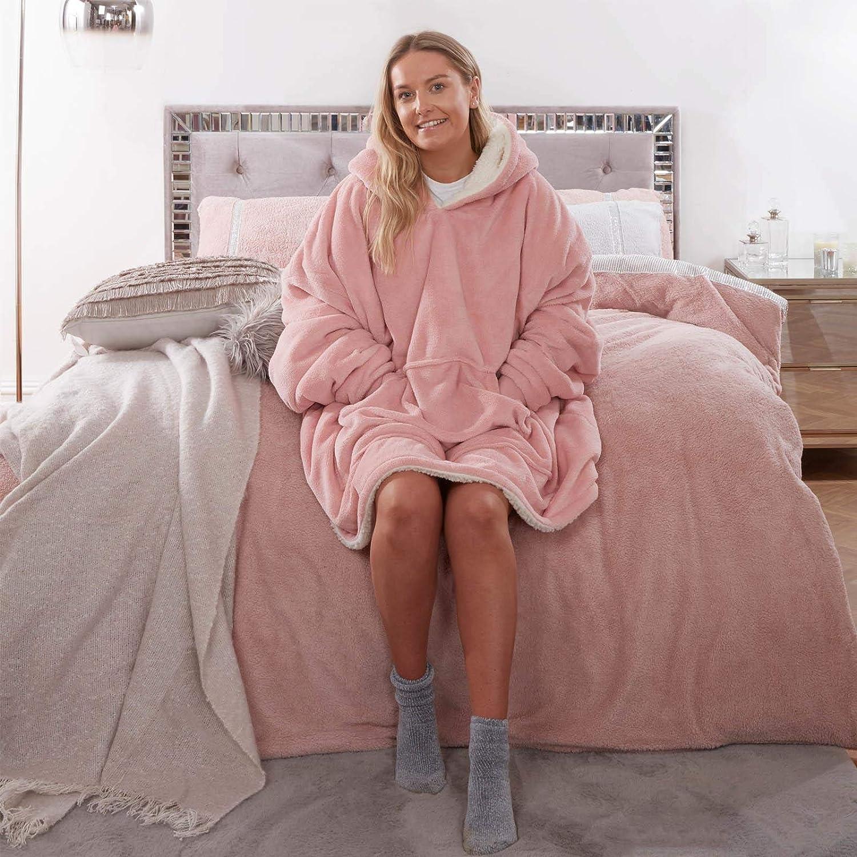 Hoodie à Capuche Peignoir Wearable Snuggle Blanket Adulte Camping chaud manteau wear Polaire