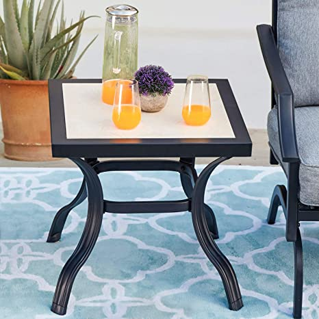 Amazon Com Patiofestival Patio Bistro Table With Square Porcelain Tabletop Outdoor Furniture All Weather Steel Frame Kitchen Dining