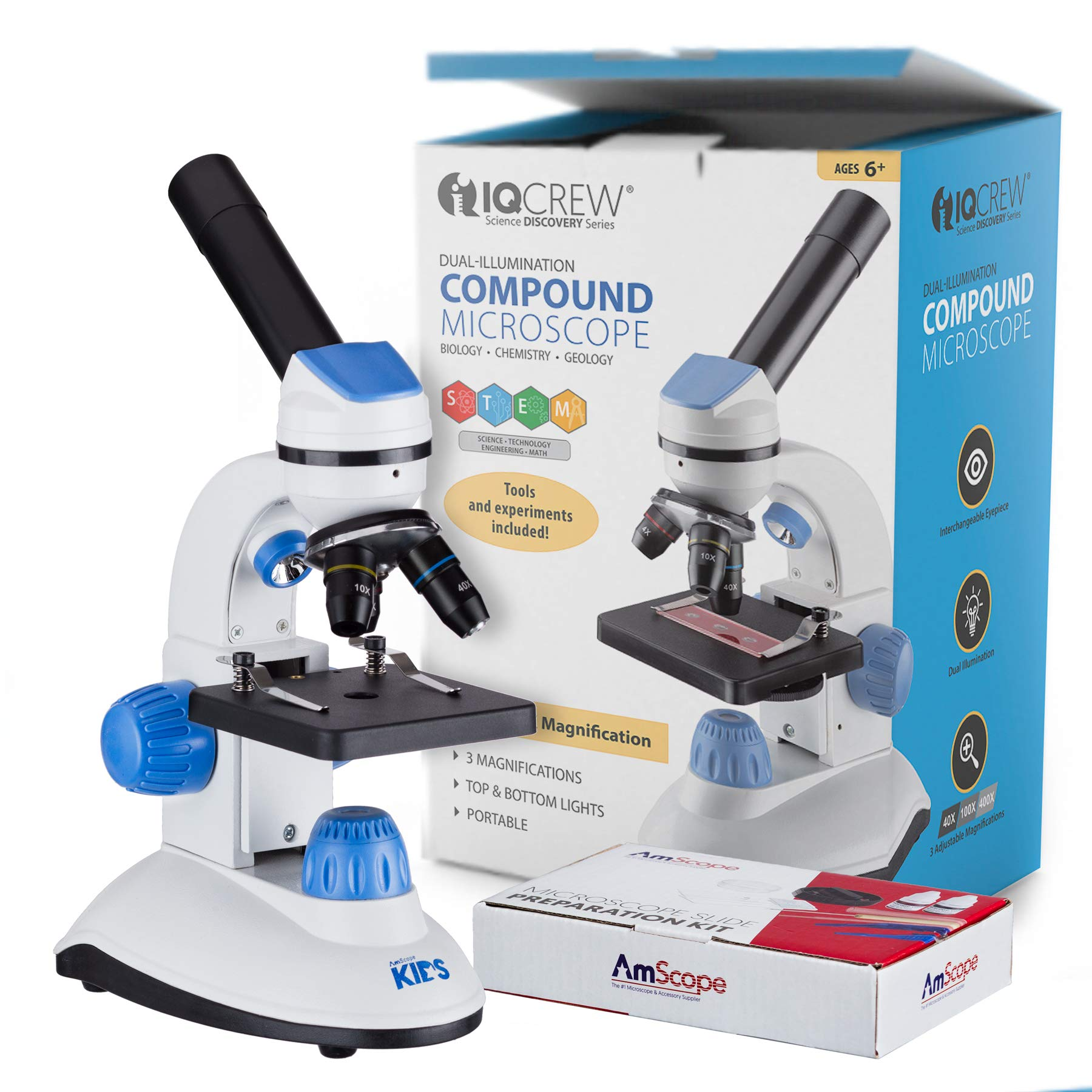 AMSCOPE-Kids M50C-B14 40X-1000X Dual Illumination Student Microscope Gift Package Awarded 2016 Top 3 Ranking Best Kids Microscope (Blue) by AmScope