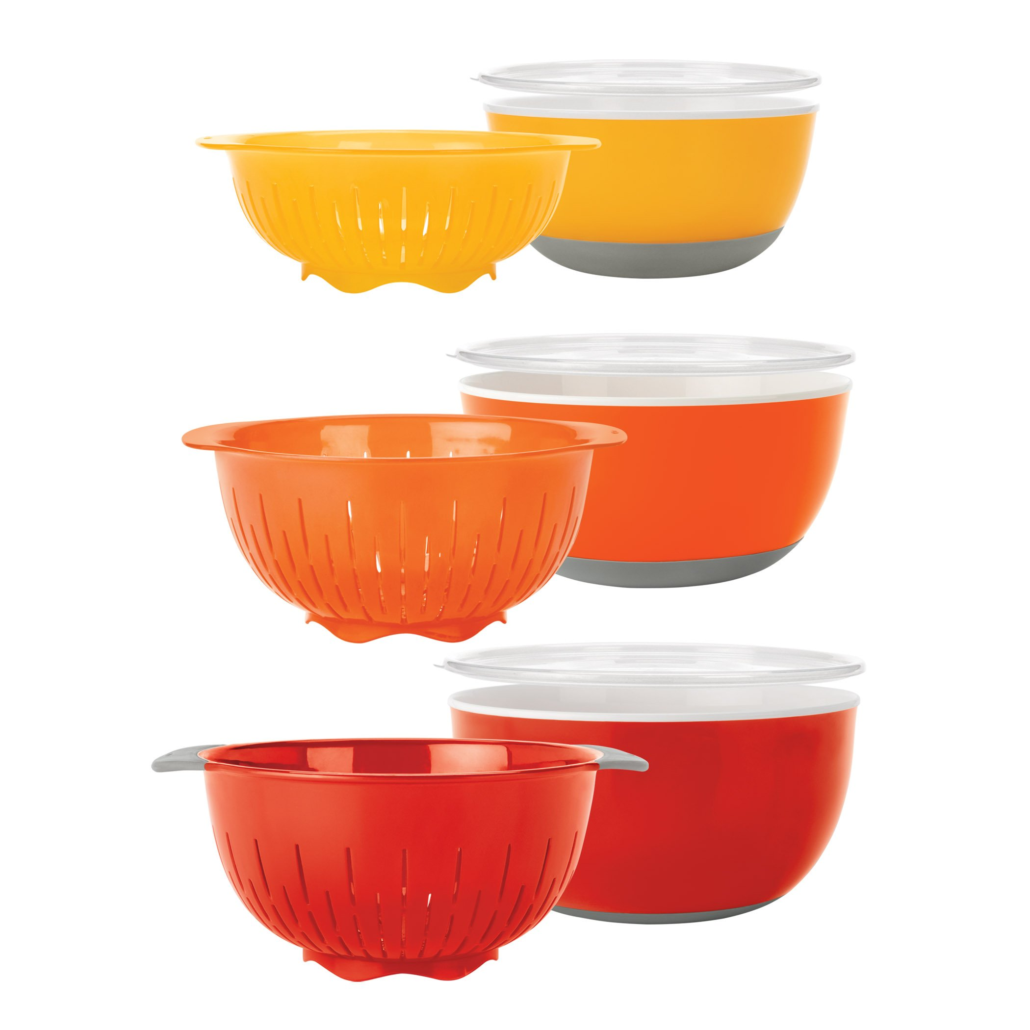 OXO Good Grips 9-Piece Nesting Bowls and Colanders Set, Yellow/Orange/Red