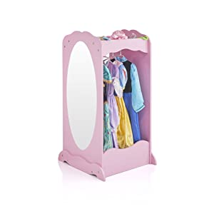 Guidecraft Dress Up Cubby Center – Pink: Costumes & Accessoires Storage Shelf and Rack with Mirror for Little Girls and Boys - Toddlers Wooden Wardrobe Closet