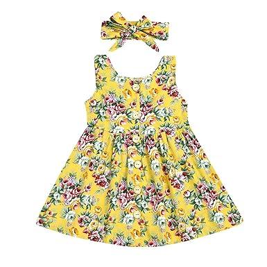 186eff4f62 Darringls Robe de Enfant Fille La Mode Les Loisirs sans Manches Col Rond  Impression 2 Pcs