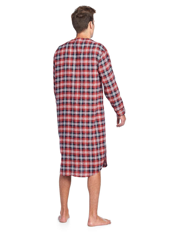 4c889dc8417 Ashford   Brooks Mens Flannel Plaid Long Sleep Shirt Henley Nightshirt at  Amazon Men s Clothing store