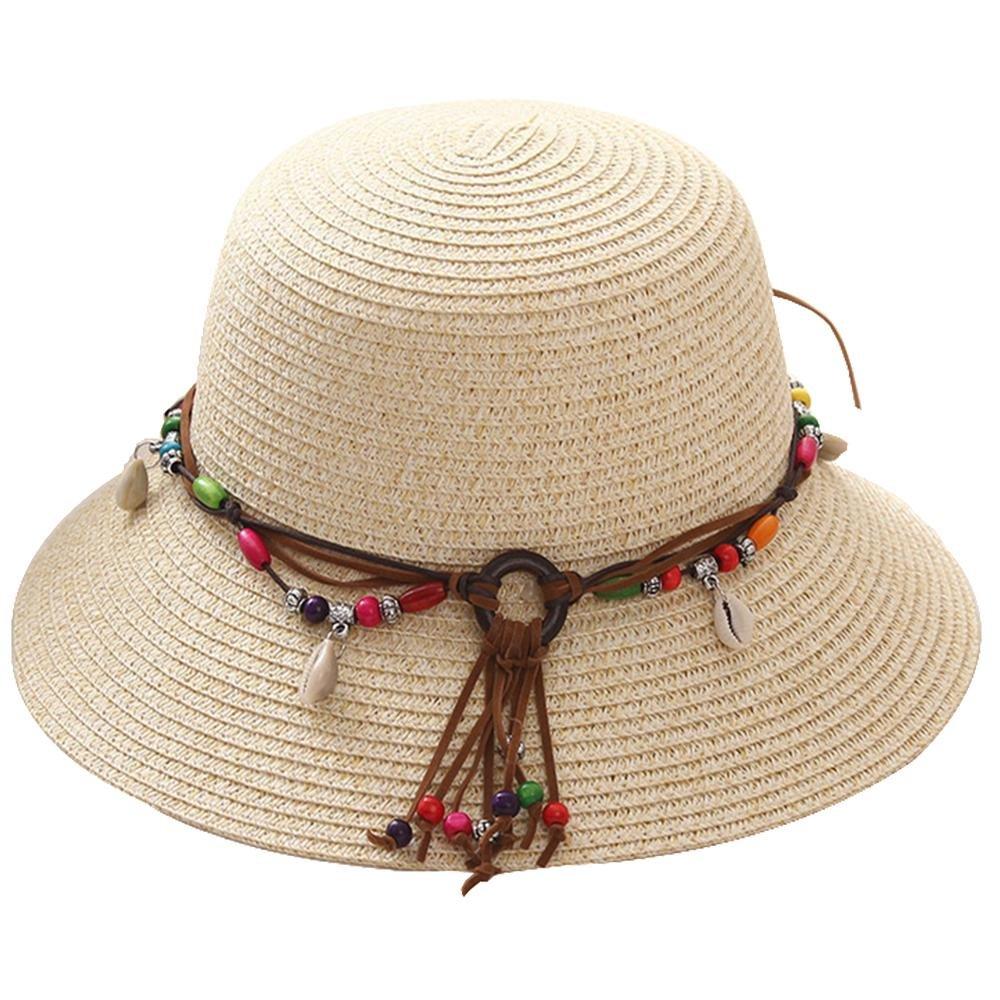 Sombrero de paja del casquillo del padre-niño borla de oro colgantes de concha nacionales viento sol...