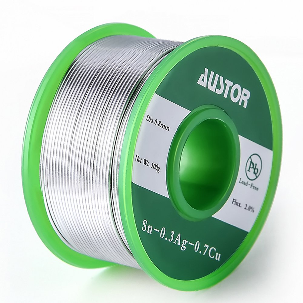 Austor 0.8mm Lead Free Solder Wire with Rosin Core Sn 99% Ag 0.3% Cu 0.7% 100g