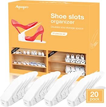 NEXTCOVER Adjustable Shoe Slot Organizer 6 Pack,Beige Color,NSO21829.