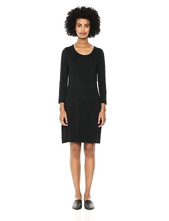 Daily Ritual Women's Jersey 3/4-Sleeve Scoop-Neck T-Shirt Dress, Black, X-Small