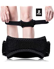 Knee Brace Strap, Knee Pain Relief and Patella Knee Band, Knee Support for Hiking, Soccer, Basketball, Running, Jumpers Knee, Tennis, Tendonitis, Volleyball & Squats