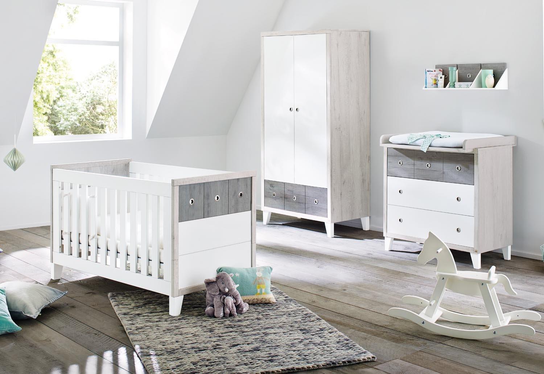 Pinolino 100021B 3-Teilig, Kinderbett, Breite Wickelkommode mit Wickelaufsatz und Kleiderschrank, aus MDF, 140 X 70 cm, uni weiß/eiche grau/esche grau