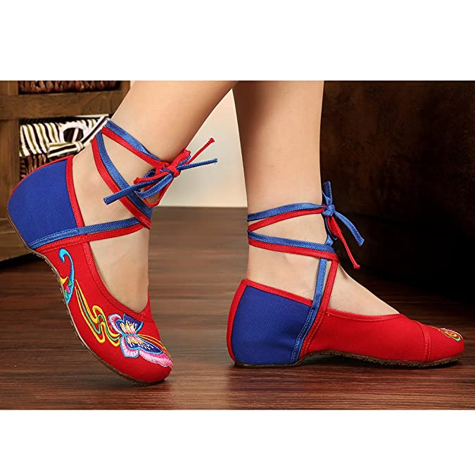 Chinese Embroidered Floral Shoes Women Ballet Cotton Loafer Ballerina Mary  Jane Flat(UK 4-6.5): Amazon.co.uk: Shoes & Bags