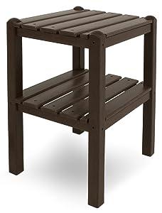 POLYWOOD TWSTMA Two Shelf Side Table, Mahogany
