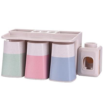 Dispensador automático de pasta de dientes MOISO con ventosa superadhesiva para montar en la pared,