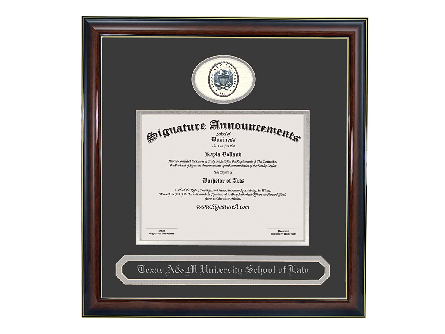 Sculpted Foil Seal /& Name Graduation Diploma Frame 20 x 20 Gloss Mahogany with Gold Accent Signature Announcements Texas-A/&M-University-School-of-Law Undergraduate