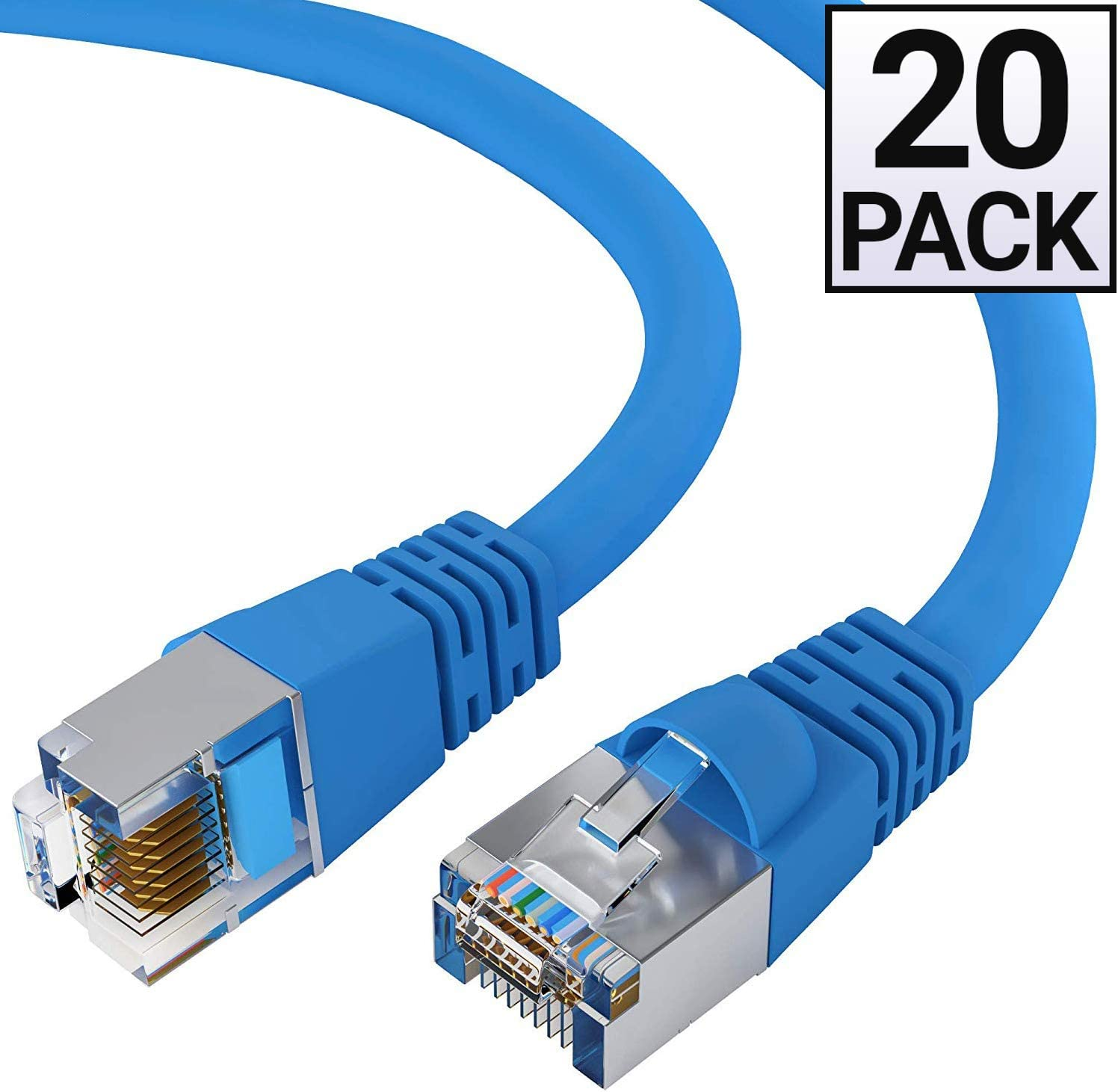 14 Feet - Gray FTP Cat5e Shielded Ethernet Cable Computer Network Cable with Snagless Connector RJ45 10Gbps High Speed LAN Internet Cord Available in 28 Lengths and 10 Colors GOWOS 5-Pack