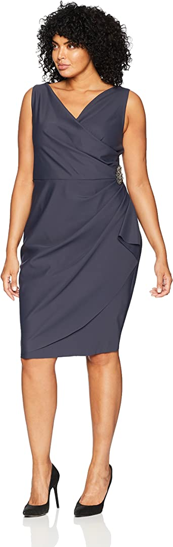 Alex Evenings Womens Plus Size Short Side Ruched Dress with Cascade Ruffle Skirt