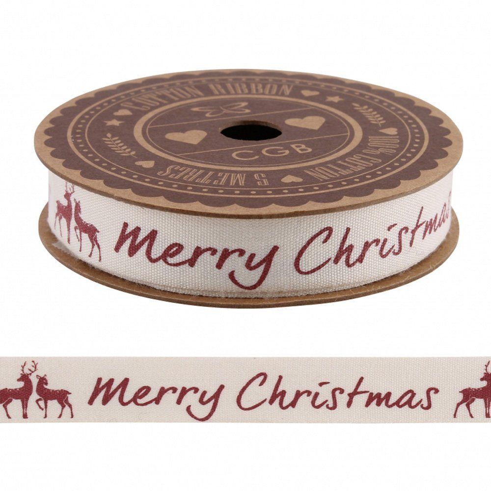 'Merry Christmas' Ribbon with Stag Xmas Cotton Ribbon 5m / Craft / Wrapping Luck and Luck