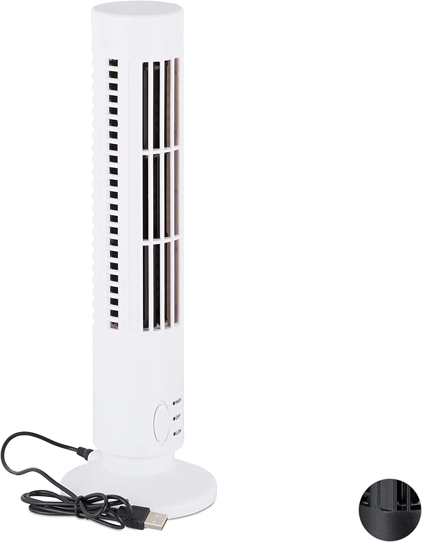 Relaxdays Ventilador USB, Torre para Escritorio y Oficina, 2 Velocidades, Plástico, cm, Blanco, 33 x 10,5 x 10,5 cm