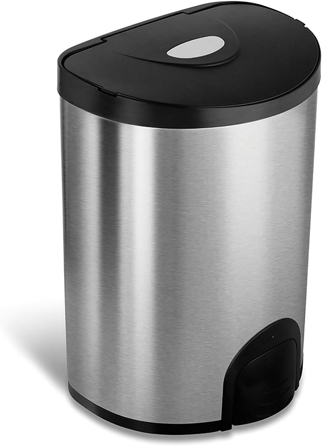 NINESTARS TTT-15-2 Automatic Tap Sensor Trash Can, 4 Gal 15L, Stainless Steel Base (D Shape, Black Lid)