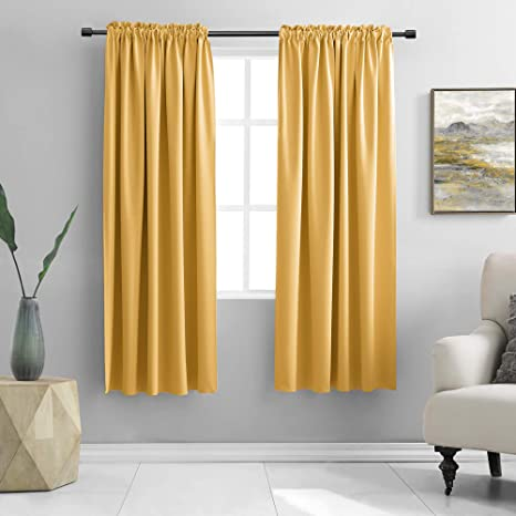 Donren Gold Yellow Curtains For Bedroom Thermal Insulated Room Darkening Rod Pocket Curtain Panels 42 W X 63 L 2 Panels Home Kitchen