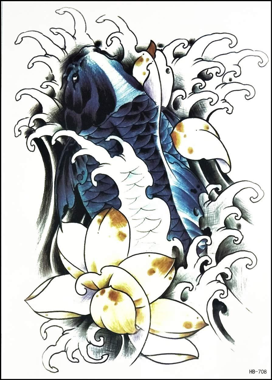"GS912 Tattoo 8.2""X5.7"" Fish Animal Japanese koi carp Fish Lotus Flower Large Tattoos Waterproof Temporary Art Cartoon Fantasy Sticker Painting Make up Sexy Body Fake Tattoo for Men Women (3)"