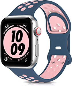 OYODSS Sport Bands Compatible with Apple Watch Band 38mm 40mm 42mm 44mm, Breathable Soft Silicone Replacement Strap Compatible with iWatch Series 6 5 4 3 2 3 SE Women Men Midnight Blue&Vintage Rose
