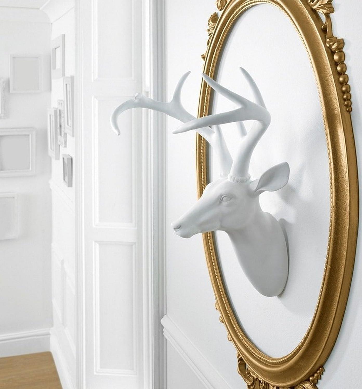 43/x 35/x 23/cm Arthouse D/écor T/ête de cerf Blanc r/ésine