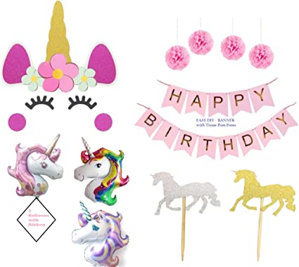 Amazon.com: Pink Unicorn Birthday Party Decorations ...