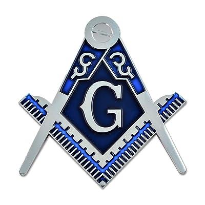 "Square & Compass Silver & Blue Masonic Auto Emblem - 3"" Tall: Automotive"