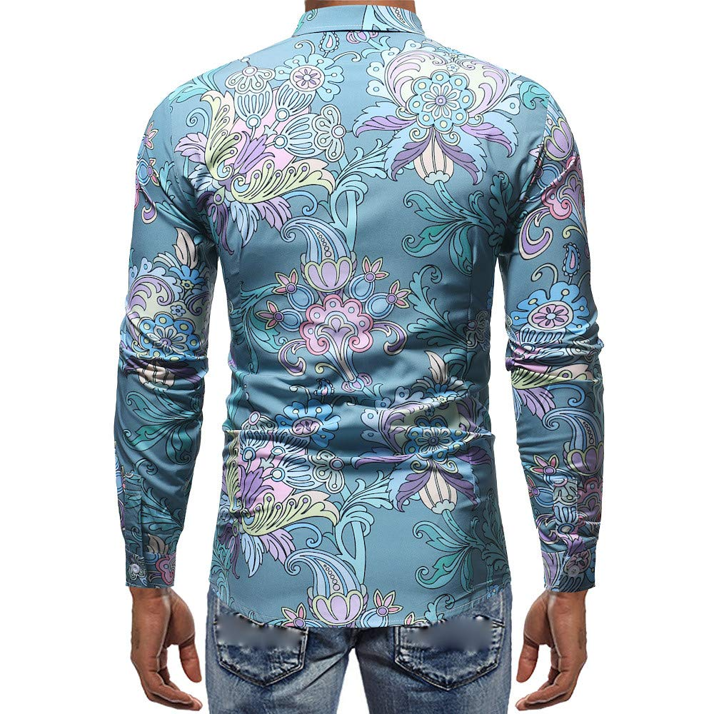 Men Shirts Long Sleeve/♥ Mens Fashion 3D Printed Blouse Casual Long Sleeve Slim Shirts Tops Blouse