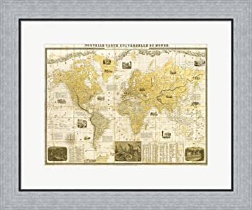 Amazon gilded 1859 map of the world by joannoo framed art gilded 1859 map of the world by joannoo framed art print wall picture flat silver sciox Images