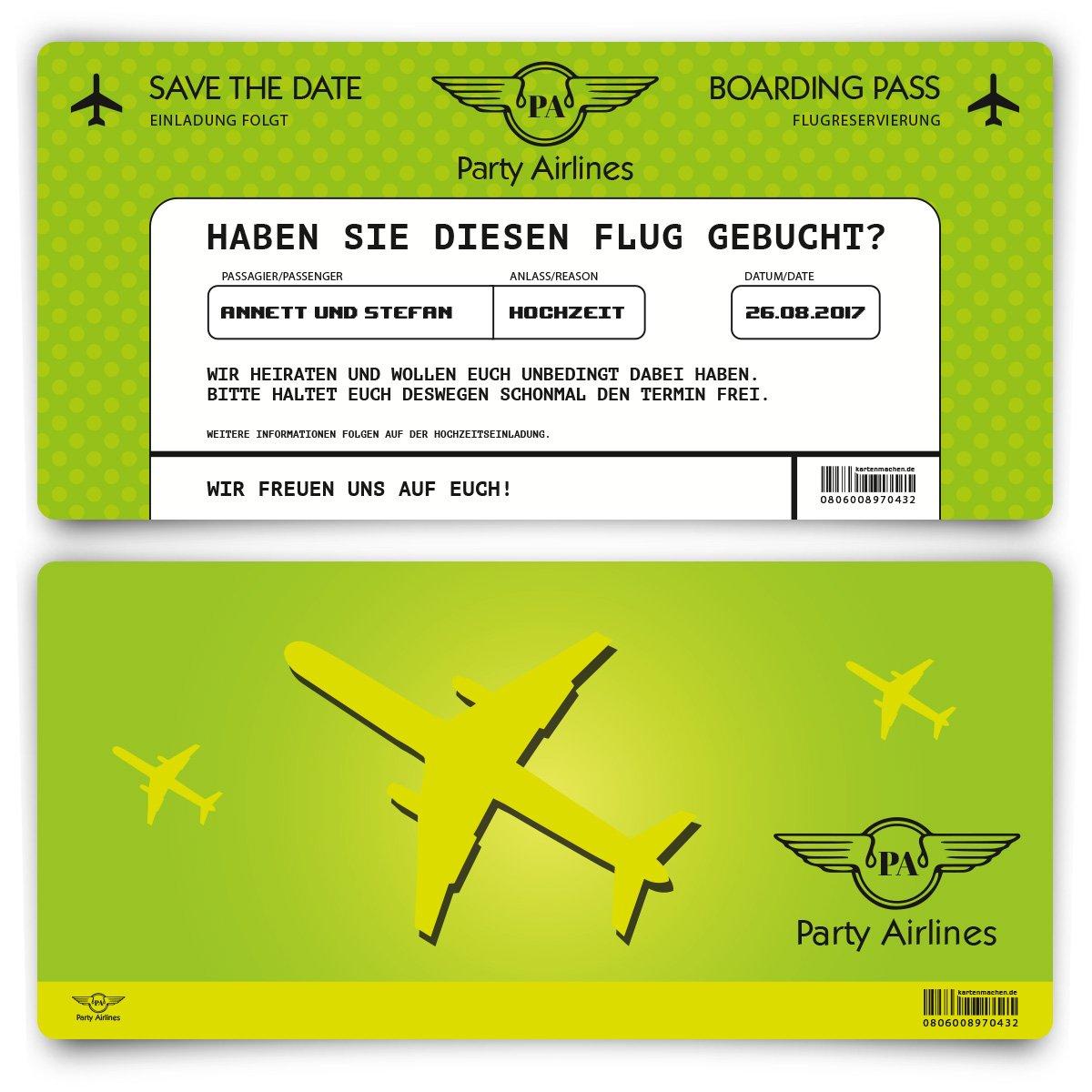 Save Save Save the Date Karten zur Hochzeit (60 Stück) - Flugticket Motiv in Grün 9a3a11