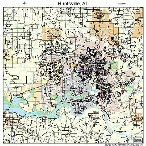 Amazon.com: Large Street & Road Map of Huntsville, Alabama ...