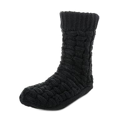Noble Mount Men s Thick Basket Weave No-Skid Slipper Socks - Black ... bfecfcae1