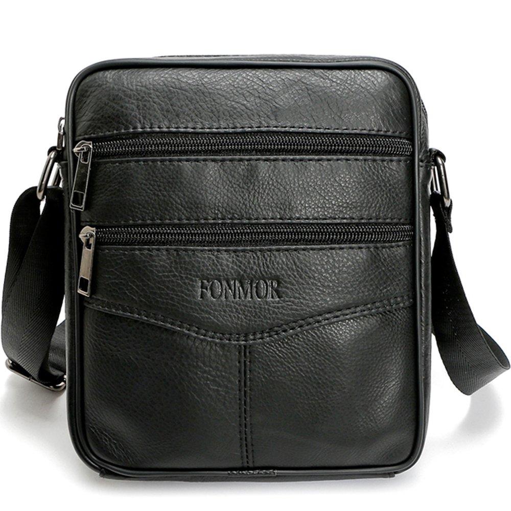 Fonmor Men Vintage Cowhide Leather Shoulder Messenger Bag Crossbody Small Satchel