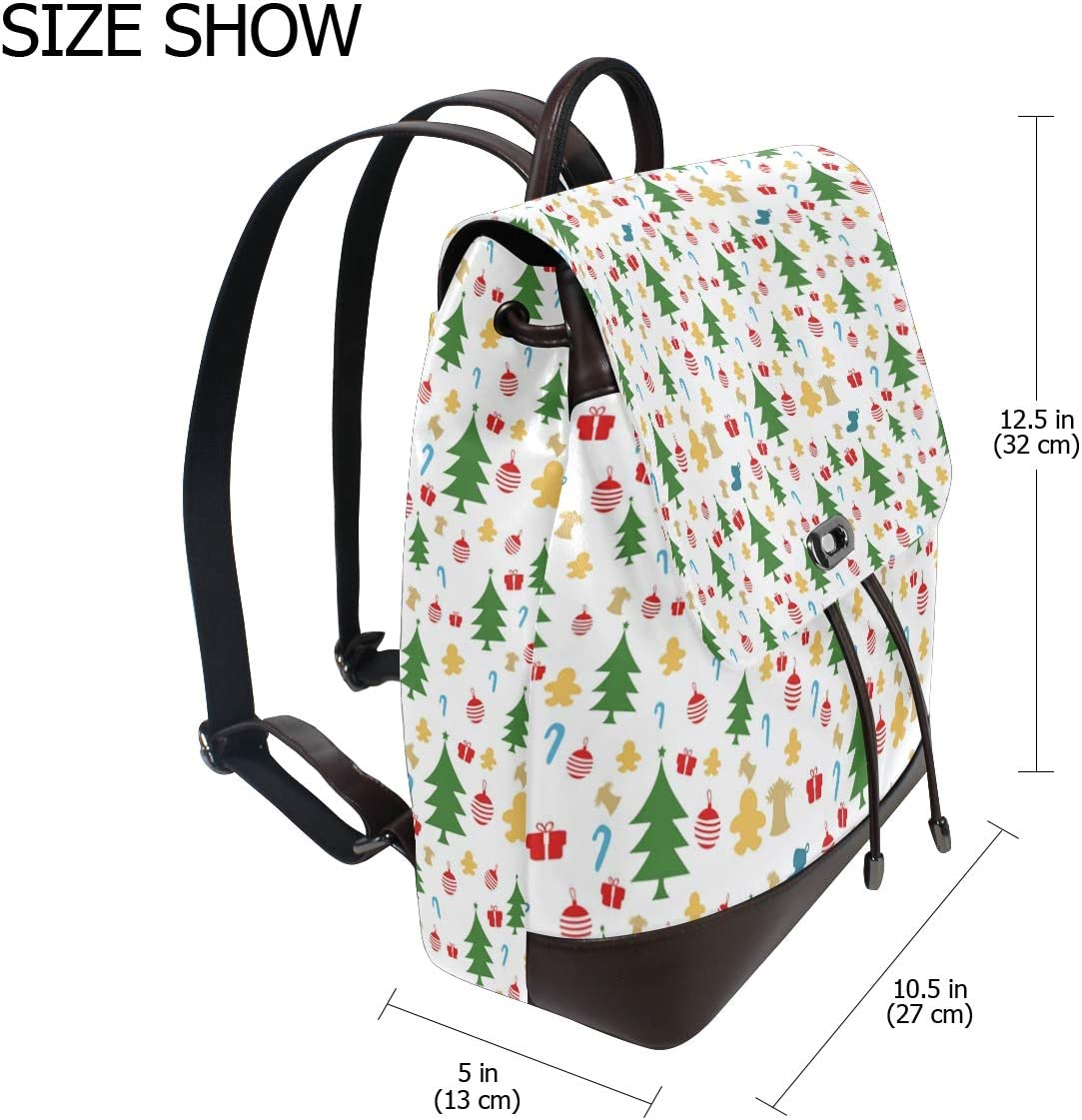 Unisex PU Leather Backpack Christmas Deers Xmas Tree Gifts Print Womens Casual Daypack Mens Travel Sports Bag Boys College Bookbag