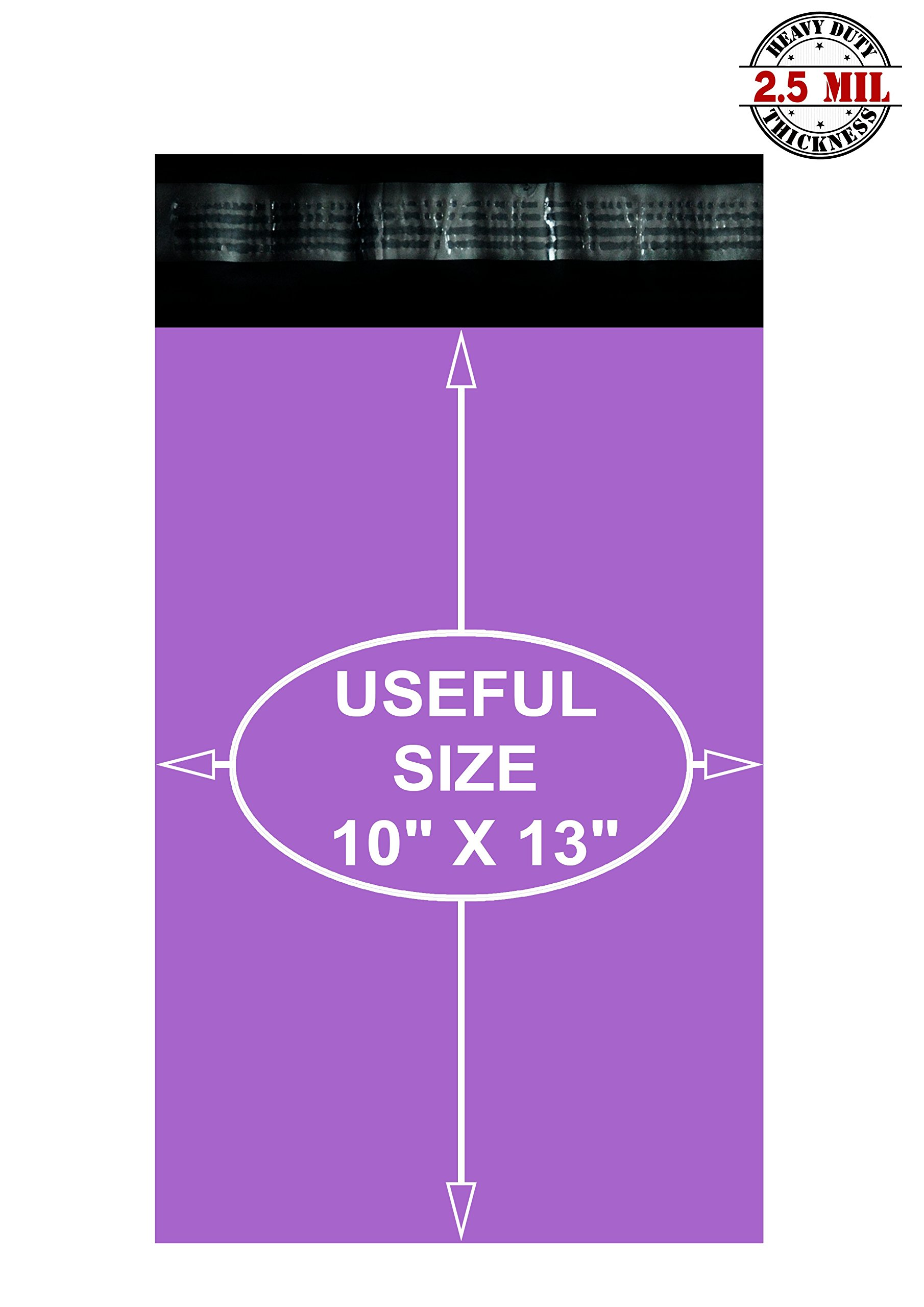 Poly mailers 10x13 Shipping bags 10 x 13 by Amiff. Purple mailing bags 2.5 mil thick. Pack of 100 poly envelopes. Peel and Seal, Waterproof, Lightweight. Wrapping, Packing, Packaging.