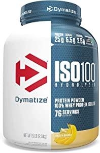 Dymatize ISO 100 Whey Protein Powder with 25g of Hydrolyzed 100% Whey Isolate, Gluten Free, Fast Digesting, Smooth, 80 Ounce