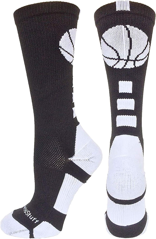 MadSportsStuff Basketball Socks with Basketball Logo Athletic Crew Socks - Made in The USA