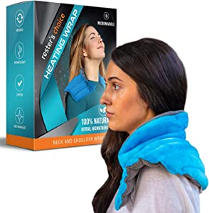 Neck Warmer Microwavable, Weighted Neck and Shoulder Wrap for Hot or Cold Therapy, Herbal Moist Aromatherapy. All-Natural Portable Neck and Shoulder Heat Wrap for Stiff Joint, Sore Muscle Pain Relief.