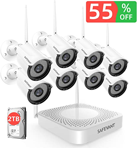 2TB Hard Drive Pre-Install 1080P Security Camera System Wireless,SAFEVANT 8 Channel Home NVR Systems 8pcs 1.3MP Indoor Outdoor Cameras with Night Vision Motion Detection