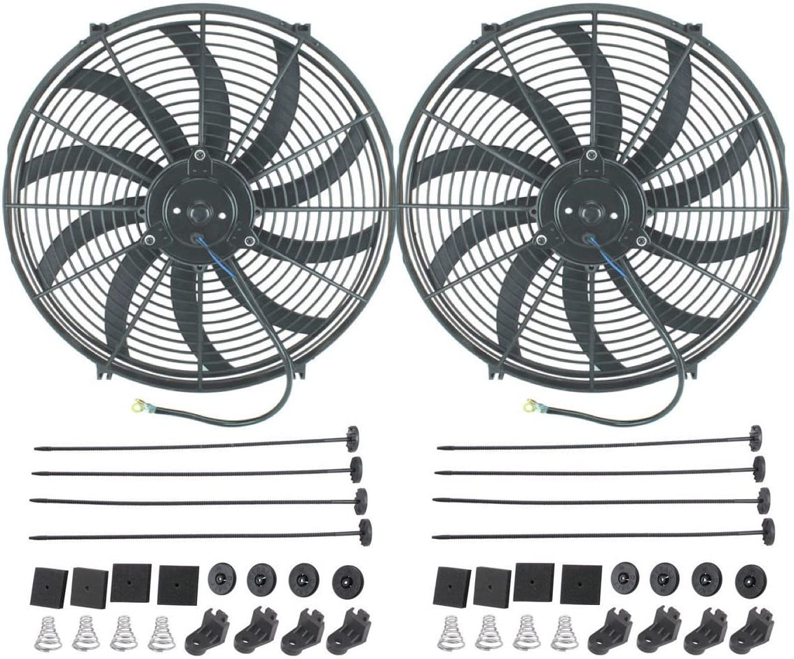 "American Volt 12V Electric Radiator Cooling Fan Reversible High Performance Thermo Cooler Best CFM (16"" Inch, Dual Fan)"