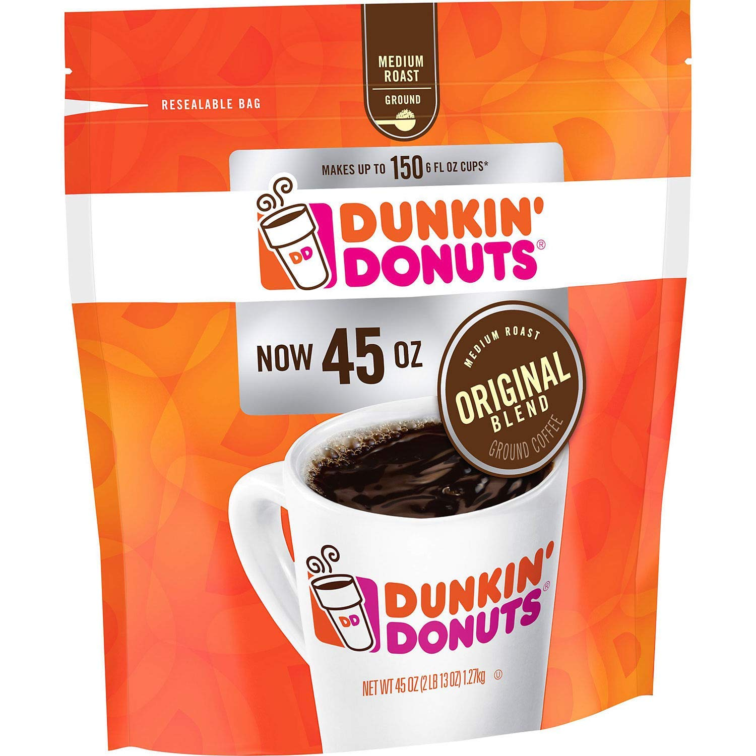 70aaf00acab Amazon.com : Dunkin' Donuts Original Blend Ground Coffee, Medium Roast (90  oz.) : Grocery & Gourmet Food