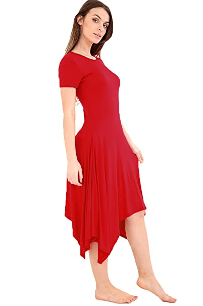 XubiDubi® Womens Cap Sleeve Long Hanky Hem Flared Dress Short Sleeve Long  Swing Dress Top Size 8-26  Amazon.co.uk  Clothing bf33d2c8d