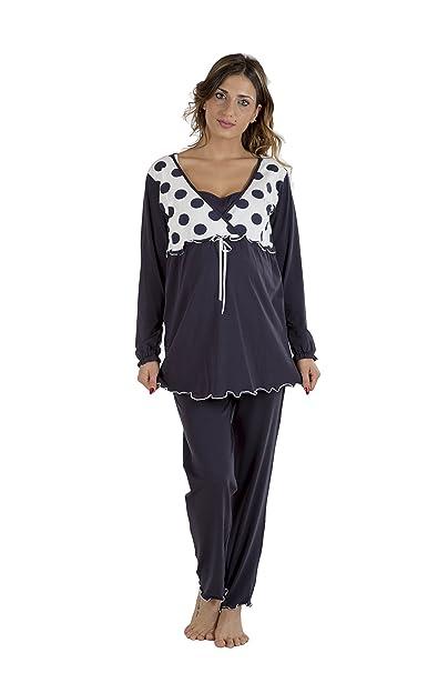 Premamy - Mujer Pijama Premamá Maternidad Para Embarazo y Lactancia - Color: Azul - Tamaño